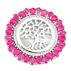 White blister pearl red ruby quartz cameo silver tree of life pendant a86340