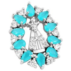 Aqua chalcedony white topaz 925 sterling silver pendant jewelry a86348
