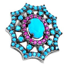 Blue sleeping beauty turquoise red ruby quartz 925 silver pendant a86527