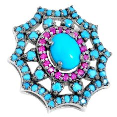 Blue sleeping beauty turquoise red ruby quartz 925 silver pendant a86587
