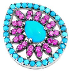 Blue sleeping beauty turquoise red ruby quartz 925 silver pendant a86596