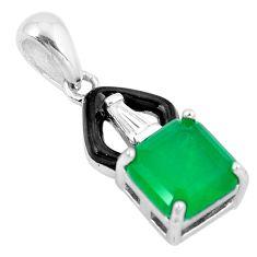 3.22cts green emerald (lab) topaz enamel 925 sterling silver pendant a87717