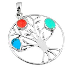 3.69gms fine blue turquoise coral enamel 925 silver tree of life pendant a88348