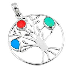 3.68gms fine blue turquoise coral enamel 925 silver tree of life pendant a88349