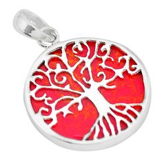925 sterling silver 7.55cts red sponge coral tree of life pendant jewelry a88350