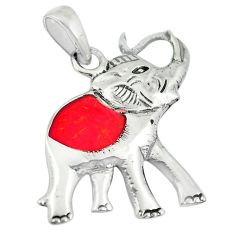 3.02gms red coral enamel 925 sterling silver elephant pendant jewelry a88358