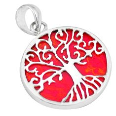 7.55cts red sponge coral 925 sterling silver tree of life pendant jewelry a88370