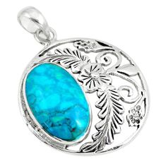 7.33cts fine green turquoise 925 sterling silver flower pendant jewelry a88406