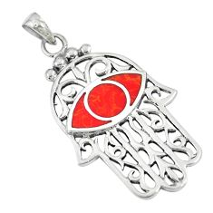 925 silver 5.48gms red sponge coral hand of god hamsa pendant jewelry a88419
