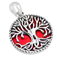 10.67cts red sponge coral 925 silver tree of life pendant jewelry a88425
