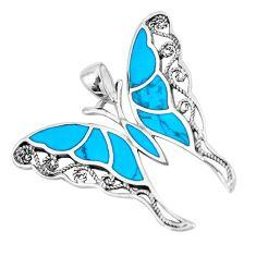 6.26gms fine blue turquoise enamel 925 sterling silver butterfly pendant a88467