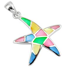 4.65gms multi color blister pearl enamel 925 silver star fish pendant a88602