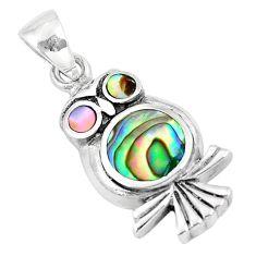 925 silver 4.48gms green abalone paua seashell enamel owl pendant a88652