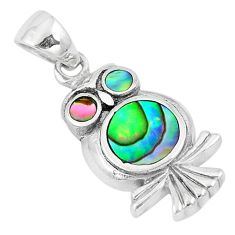 4.47gms green abalone paua seashell enamel 925 silver owl pendant a88658