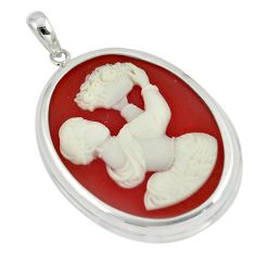 925 sterling silver 25.19cts white lady cameo oval pendant jewelry a88872