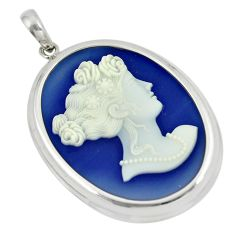 24.00cts victorian princess cameo 925 sterling silver pendant jewelry a88915