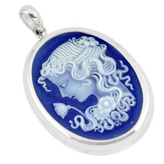 22.92cts white lady flower cameo 925 sterling silver pendant jewelry a88916