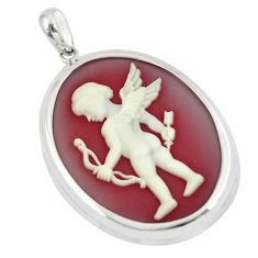 22.54cts white baby bow cameo 925 sterling silver pendant jewelry a88934