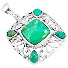 6.84cts green arizona mohave turquoise 925 sterling silver pendant a89556