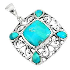 6.85cts blue arizona mohave turquoise 925 sterling silver pendant jewelry a89598