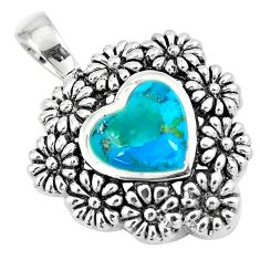 925 sterling silver 3.13cts green arizona mohave turquoise heart pendant a89776