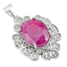 7.63cts natural red ruby white topaz 925 sterling silver pendant jewelry a90015