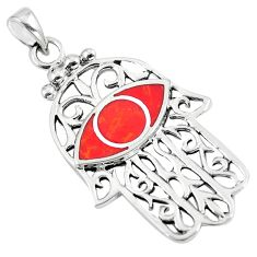 5.02gms red coral enamel 925 sterling silver hand of god hamsa pendant a90781