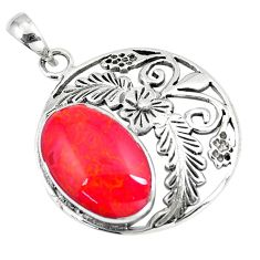 7.04cts red coral 925 sterling silver flower pendant jewelry a90793