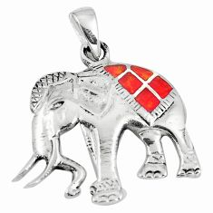 3.48gms red coral enamel 925 sterling silver elephant pendant jewelry a90806
