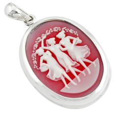 26.68cts three muses dancing cameo 925 sterling silver pendant jewelry a91056