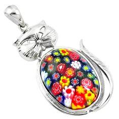 28.36cts multi color italian murano glass 925 sterling silver cat pendant a91511
