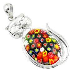 925 sterling silver 28.67cts multi color italian murano glass cat pendant a91515