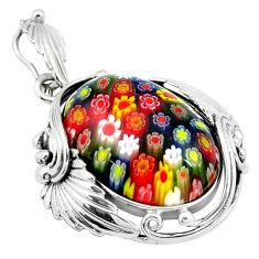 31.35cts multi color italian murano glass 925 sterling silver pendant a91548