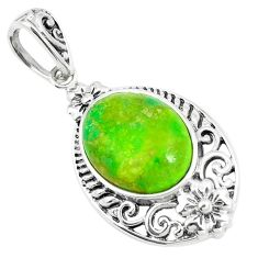 5.23cts green copper turquoise 925 sterling silver pendant jewelry a91642