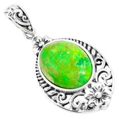 5.03cts green copper turquoise 925 sterling silver pendant jewelry a91646