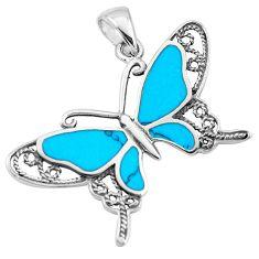 5.63gms fine blue turquoise enamel 925 sterling silver butterfly pendant a91857