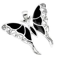 925 sterling silver 5.87gms black onyx enamel butterfly pendant jewelry a91860