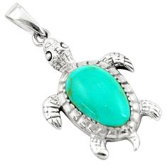 3.83cts fine green turquoise enamel 925 sterling silver turtle pendant a91883