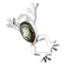 925 silver 4.48gms green abalone paua seashell frog pendant jewelry a91889