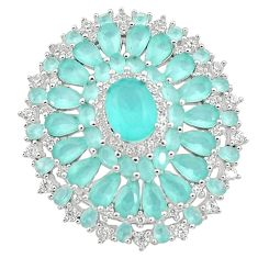 14.72cts aqua chalcedony white topaz 925 sterling silver pendant jewelry a92128