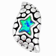 1.98cts green australian opal (lab) 925 sterling silver pendant jewelry a92717