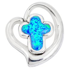 4.92cts blue australian opal (lab) 925 sterling silver holy cross pendant a92725