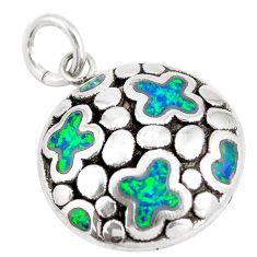 2.93cts green australian opal (lab) 925 sterling silver pendant jewelry a92730