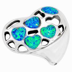 7.36cts green australian opal (lab) 925 sterling silver heart pendant a92741