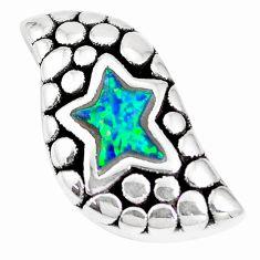 1.98cts green australian opal (lab) 925 sterling silver pendant jewelry a92771