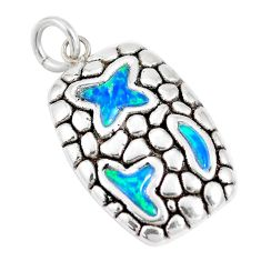 2.98cts blue australian opal (lab) 925 sterling silver pendant jewelry a92773