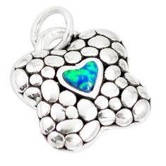 0.78cts green australian opal (lab) 925 sterling silver heart pendant a92774