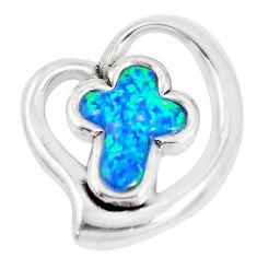 5.63cts blue australian opal (lab) 925 sterling silver holy cross pendant a92776