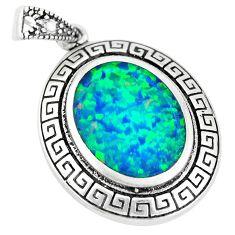 4.68cts green australian opal (lab) oval 925 sterling silver pendant a92786