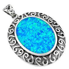 6.57cts blue australian opal (lab) 925 sterling silver pendant jewelry a92794